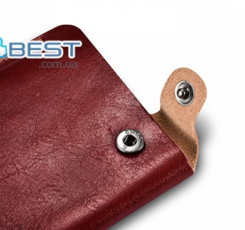 Универсальный чехол Icarer Vegetable Tanned Leather 5.5inch Straight Leather Pouch Red Wine