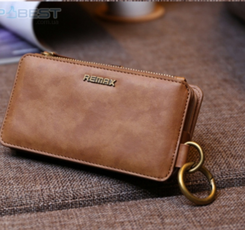 Универсальный чехол кошелек Remax Luxury Genuine Leather Wallets Phone Cases Cover для Apple iPhone, Samsung, Huawei, Meizu, Xiaomi Red (Красный)