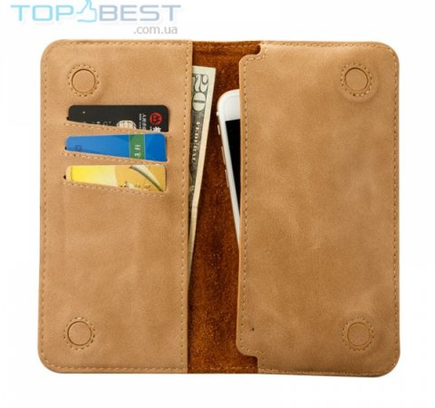 Универсальный чехол кошелек Jisoncase Leather Pouch Wallet Large для Apple iPhone, Samsung, Huawei, Meizu, Xiaomi Khaki (Хаки)