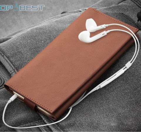 Универсальный чехол кошелек Qialino Leather Wallet Pouch Universal Phone Case для Apple iPhone, Samsung, Huawei, Meizu, Xiaomi Black (Черный)