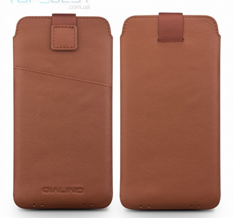 Универсальный чехол Qialino Universal Leather Phone Pouch для Apple iPhone, Samsung, Huawei, Meizu, Xiaomi Brown (Коричневый)