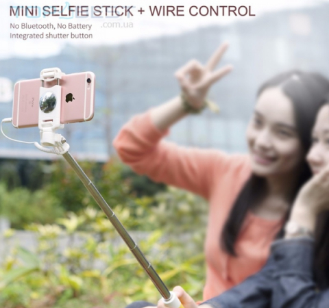 Комапактная селфи палка Rock Mini Selfie Stick для Apple iPhone, Samsung, Sony, Huawei, Meizu Pink (Розовый)