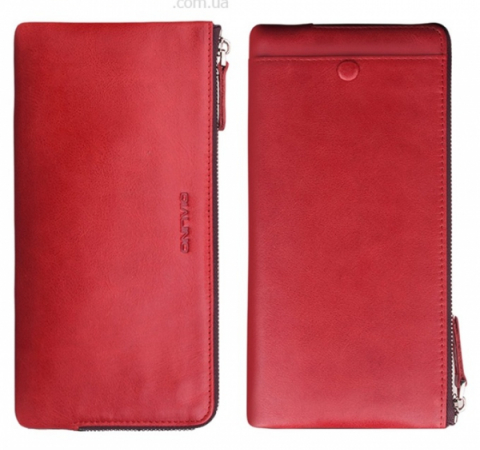 Кожаный кошелек Qialino Universal Oil Pull Leather Zip Wallet Phone Purse Red (Красный)