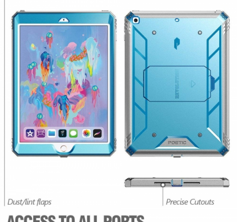"Противоударный чехол Poetic Revolution Hybrid Heavy Duty для Apple iPad 9.7"" 2018 2017 Blue/Gray"