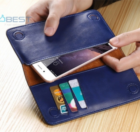 Универсальный чехол кошелек Floveme Genuine Leather Wallet для Apple iPhone, Samsung, Huawei, Meizu, Xiaomi Black (Черный)