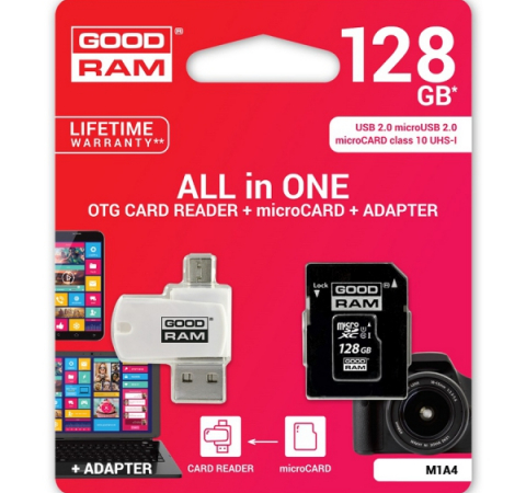 Карта памяти Goodram M1A4 128GB Class 10 UHS All in One + OTG Reader White (M1A4-1280R11)