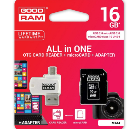 Карта памяти Goodram M1A4 16GB Class 10 UHS All in One + OTG Reader White (M1A4-0160R11)