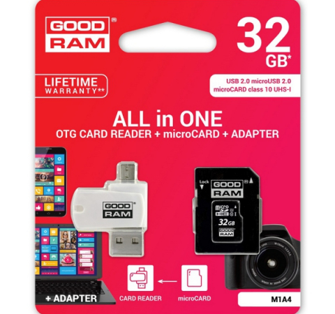Карта памяти Goodram M1A4 32GB Class 10 UHS All in One + OTG Reader White (M1A4-0320R11)