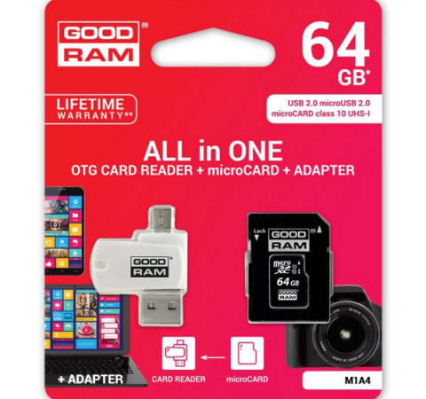 Карта памяти Goodram M1A4 64GB Class 10 UHS All in One + OTG Reader White (M1A4-0640R11)