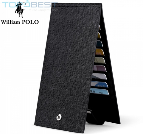 Кошелёк William Polo 178 Genuine Leather Wallet Men Business Style Elegant Black (Черный)