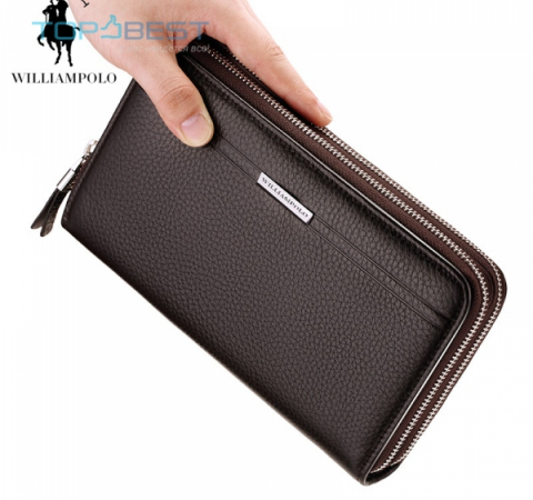 Универсальный кошелек William Polo (163) Leather Vintage Solid Clutch Phone Case Wallet (Оригинал) Black (Черный)